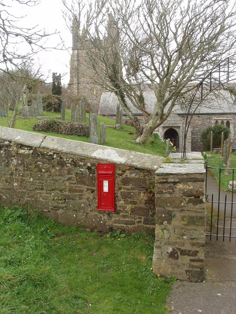 St Gennys church with Victorian post box