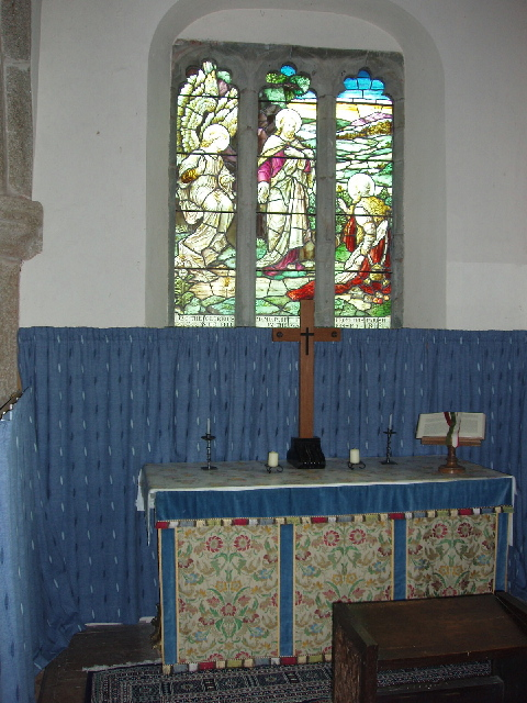 War memorial window in chapel to St Mary at St Gennys