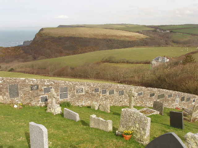 Churchyard and memorial wall, St Gennys