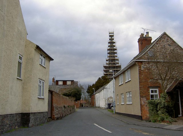Scaffold clad Church steeple