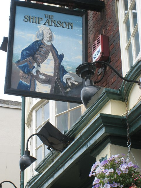 """Sign on the """"Ship Anson"""" pub, Portsmouth"""