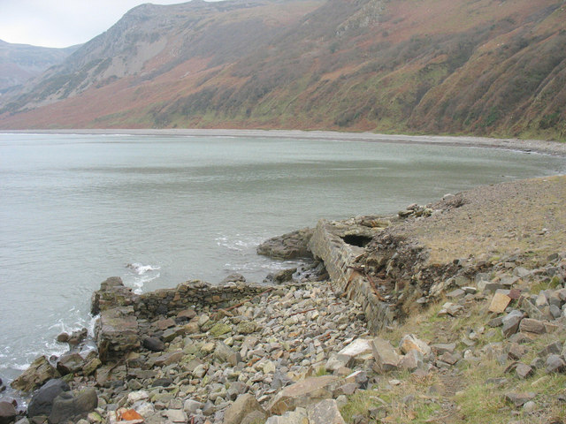 Site of the now demolished shipping pier at Carreg-y-Llam Quarry