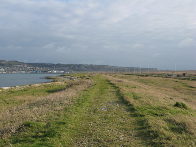 The old track bed of the Weymouth & Portland Railway
