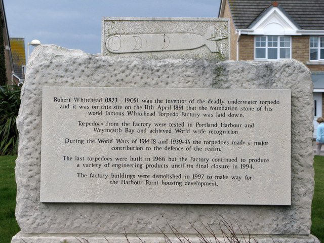 The Memorial Stone on the site of the old torpedo factory
