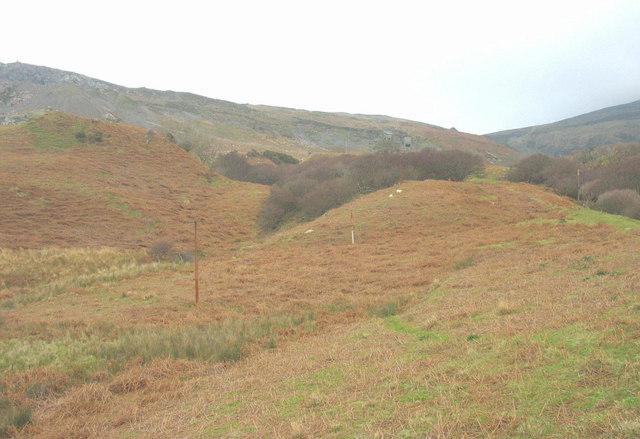 View upslope towards the Cae'r Nant Quarry