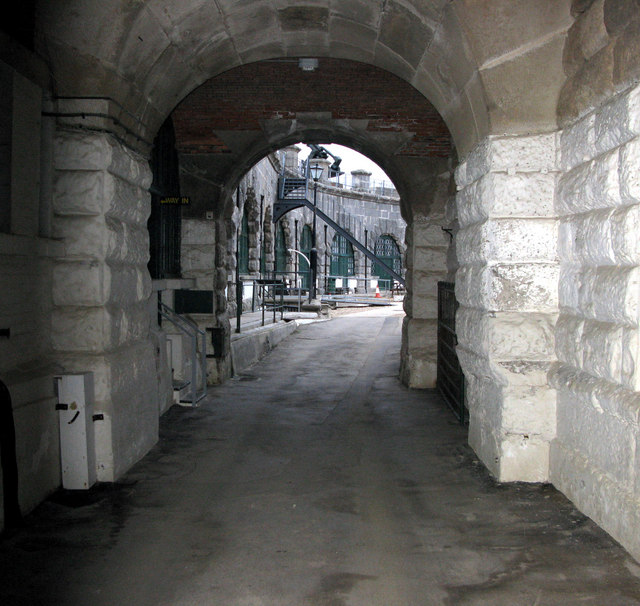 The entrance tunnel to the Nothe Fort