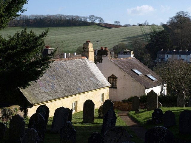 Churchyard and cottages, Marldon