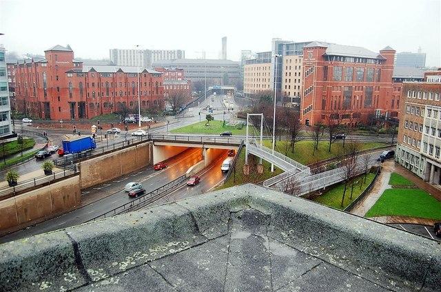 Leeds inner ring road/International pool roof vantage point