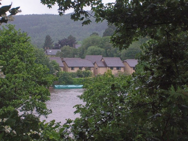 View showing the flooded Cricket Field at Oughtibridge