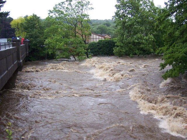 June 2007 - River Don Weir at Oughtibridge during the flood.