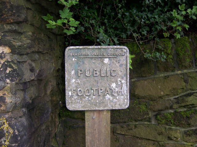 Public Footpath Sign near to Oughtibridge