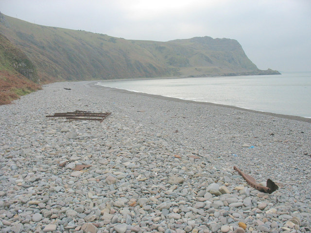 The remains of the accident prone Amy Summerfield on the beach south of Porth y Nant