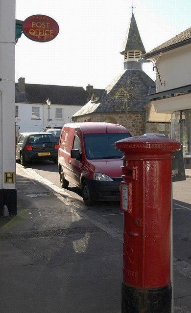 Chagford post office and pillar box