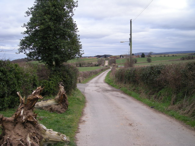 Lane to Bayston Farm.
