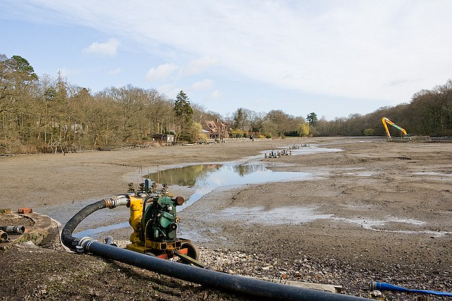Fishers Pond during annual maintenance
