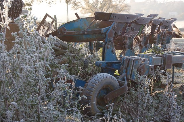 Agricultural machinery in a hoar frost at Linton, Herefordshire.