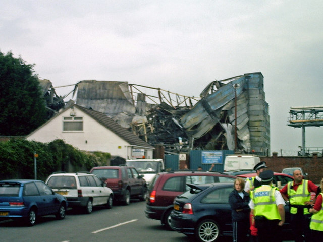 The empty Birds Eye factory destroyed by arsonists