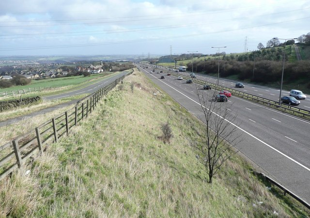 The M62 and the diverted Pinfold Lane, Fixby