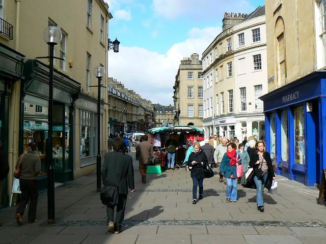 View north from Burton Street to Milsom Street, Bath