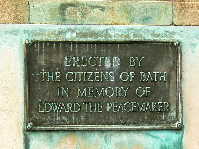 Plaque, Edward VII memorial, Parade Gardens, Bath