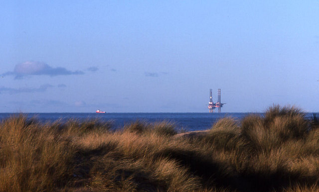 Formby Point and drilling rig