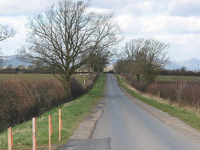 Narrow road approaching Eldersfield