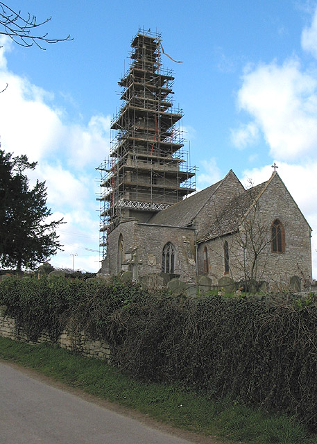 Repairs to the spire of Eldersfield Church