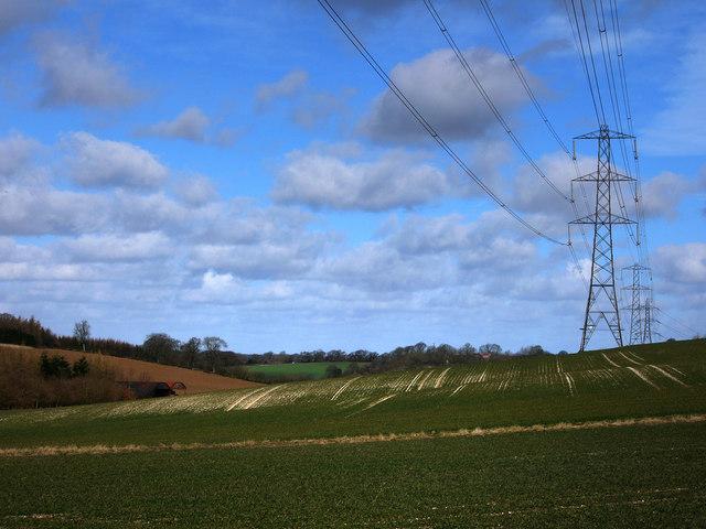 Pylons, looking towards Lower Bordean