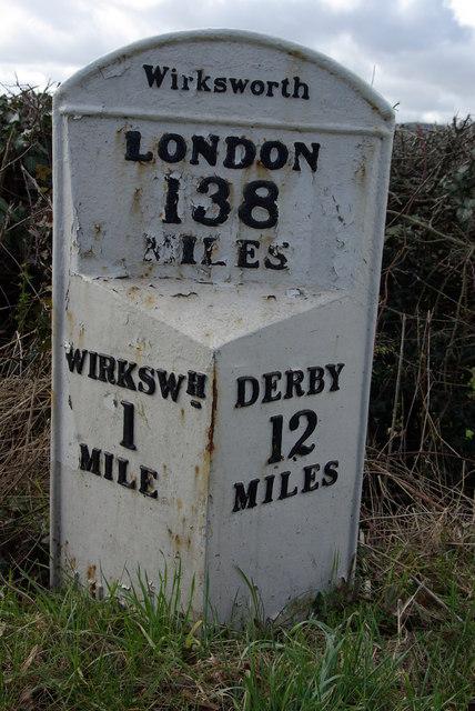 Milepost on Wirksworth to Derby road