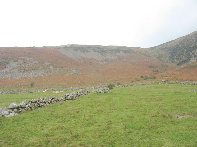 View north-eastwards across the in-by fields of Ty Uchaf