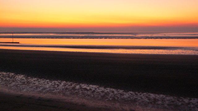 Sunset over Steart Flats