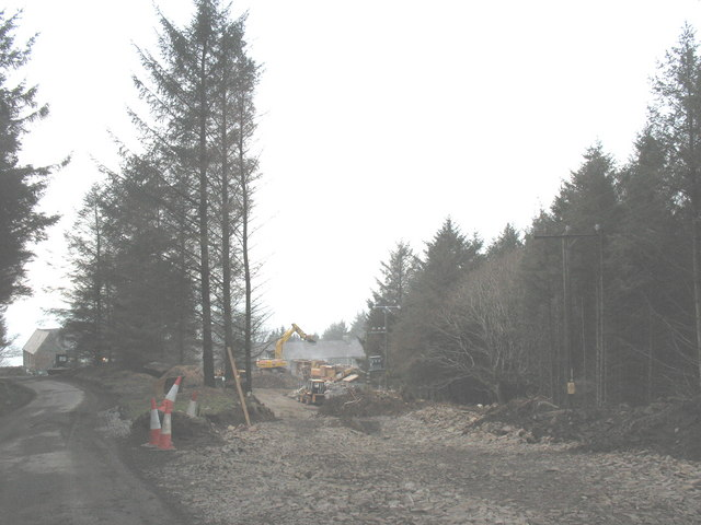 A new section of road near Porth y Nant village