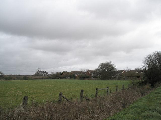 Looking across field to rear of Stanbury Close, Bosham