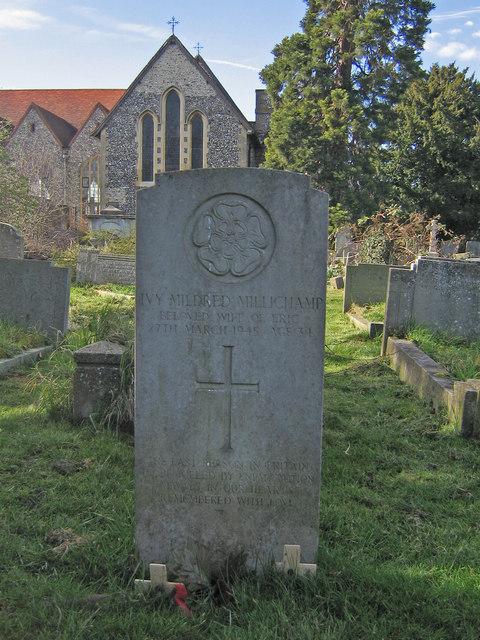 The headstone of Ivy Millichamp, All Saints churchyard
