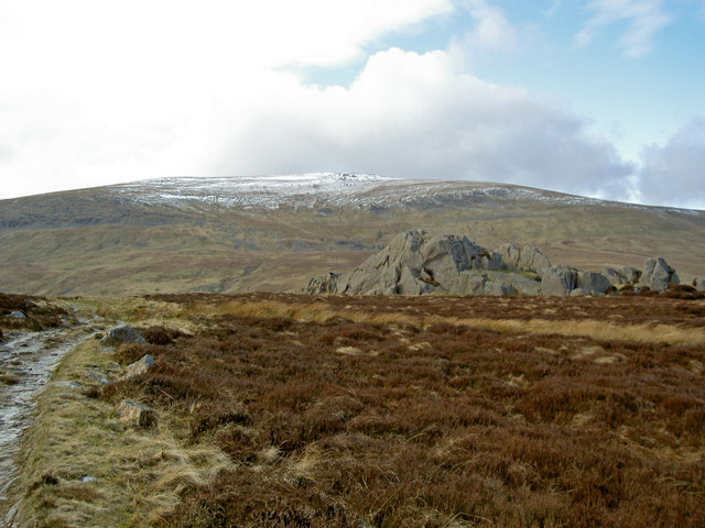 Rocky outcrop with Foel-fras beyond