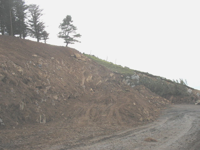 Road widening above Porth y Nant