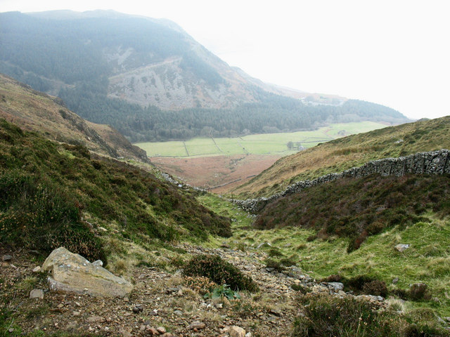 View down the tributary valley from the Bwlch yr Eifl col