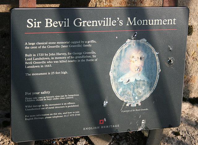 2008 : Board at Sir Bevil Greville's Monument, Lansdown