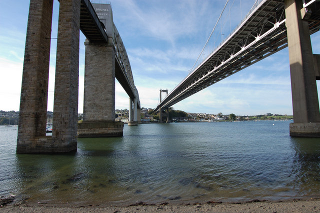 Tamar bridges from below