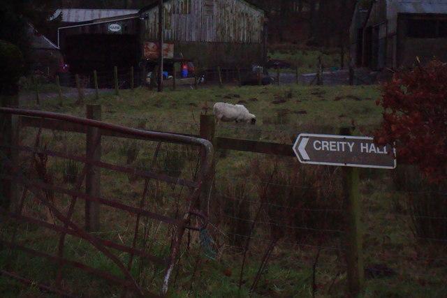 Sign for Creity Hall farm