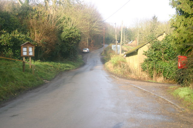The road passing by Little Hampden Church