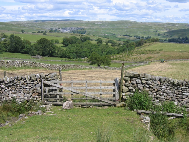 Field gate and view to Malham Cove