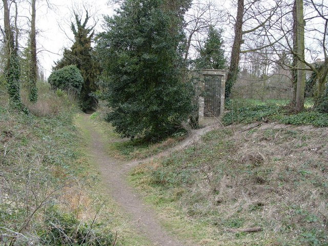 Footpath in the Iron Age fort ditch, Wandlebury Ring