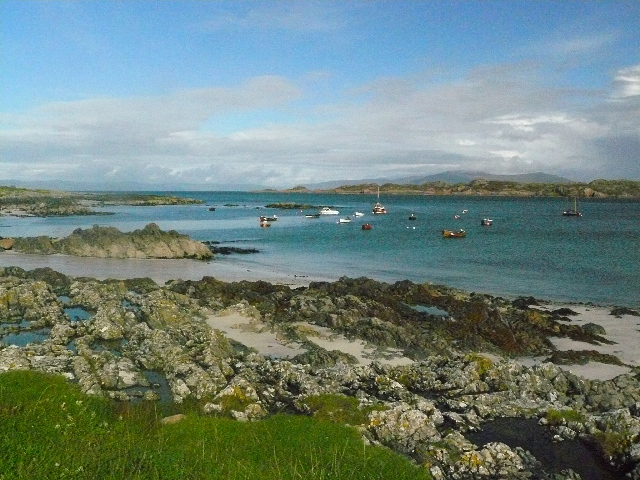 St. Ronan's Bay and View to Mull from near jetty, Iona