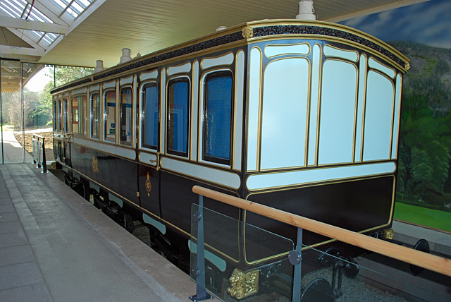 Ballater Station - reproduction of a Victorian railway saloon carriage