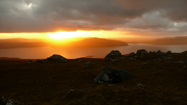 Camp at Dun Caan summit
