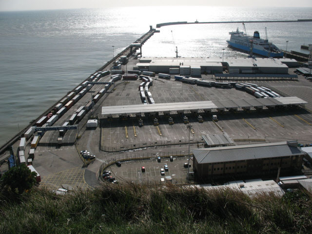 A backlog of lorries at the docks