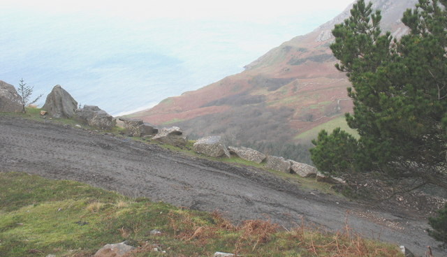 The  top hairpin bend of the Porth y Nant road