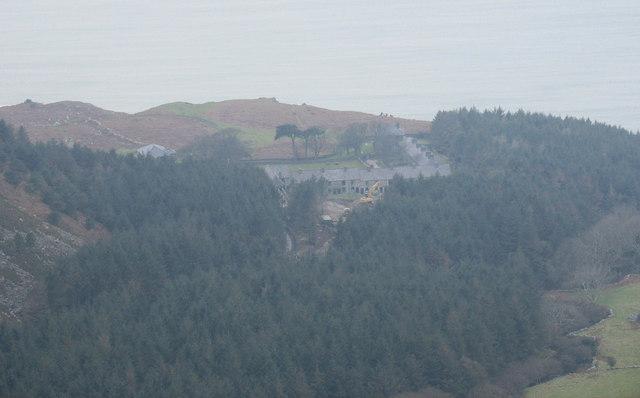 Porth y Nant village from the top of the Graig Ddu scar