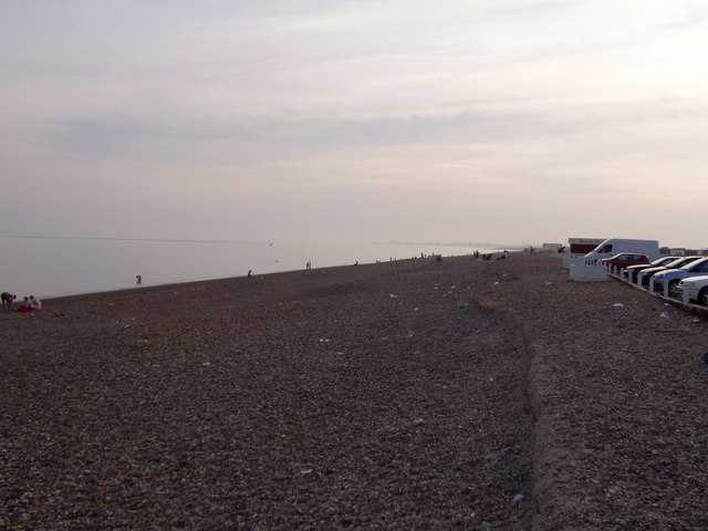 Hayling beach looking west from Funland